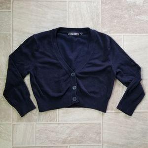 Navy Blue Crop Cardigan